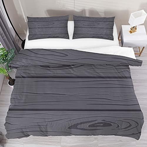 Juego de funda de edredón de grano de madera negra, juego de cama de tres piezas, tamaño completo con 2 fundas de almohada y 1 funda de edredón para el hogar, mujeres y hombres