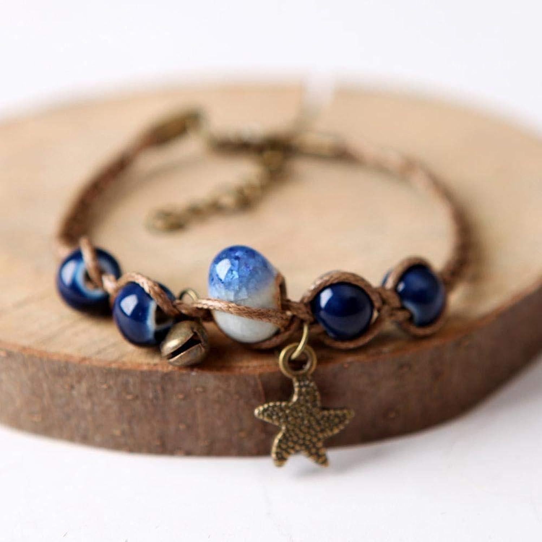Zicue Stylish Charming Bracelet Exquisite Ornaments Vintage Art Hand woven ceramic bracelet Lady Gift ( color   B )