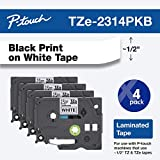 "Brother Genuine P-touch, TZe-231 4 Pack Tape (TZE2314PKB) ½""(0.47"") x 26.2 ft. (8m) 4-Pack Laminated P-Touch Tape, Black on White, Perfect for Indoor or Outdoor Use, Water Resistant, TZE2314PK, TZE231"