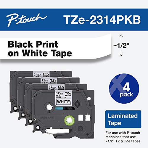 Brother Genuine P-touch, TZe-231 4 Pack Tape (TZE2314PKB) (0.47) x 26.2 ft. (8m) 4-Pack Laminated P-Touch Tape, Black on White, Perfect for Indoor or Outdoor Use, Water Resistant, TZE2314PK, TZE231
