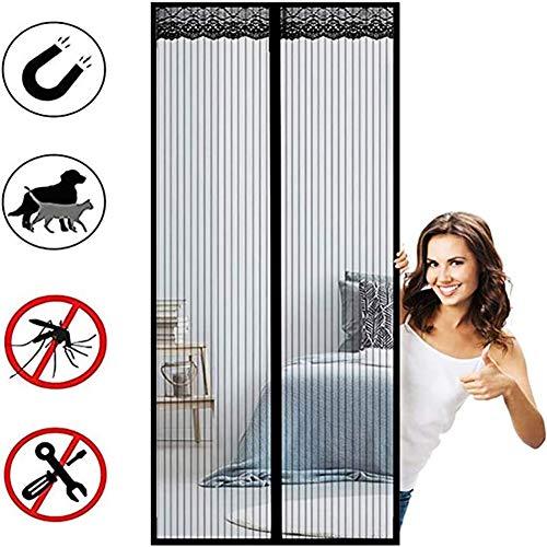 Mosquitera Magnética para Puertas, Cierre Magnético Automático Que Evita el Paso de Insectos Tejido Súper Fino Fácil de ensamblar para Puertas Correderas/Balcones/Terraza(personalizable)
