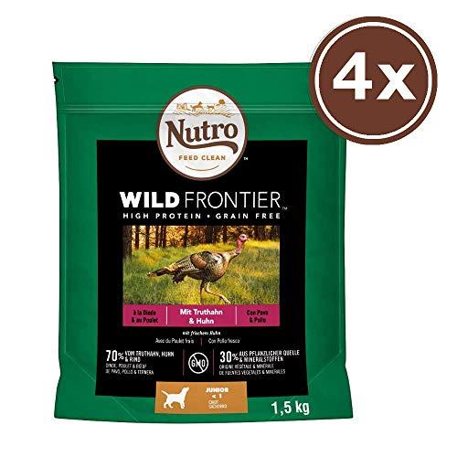 NUTRO Hundefutter Trockenfutter Wild Frontier Junior <1 Reich an Truthahn & Huhn, 4 Beutel (4 x 1.5kg)
