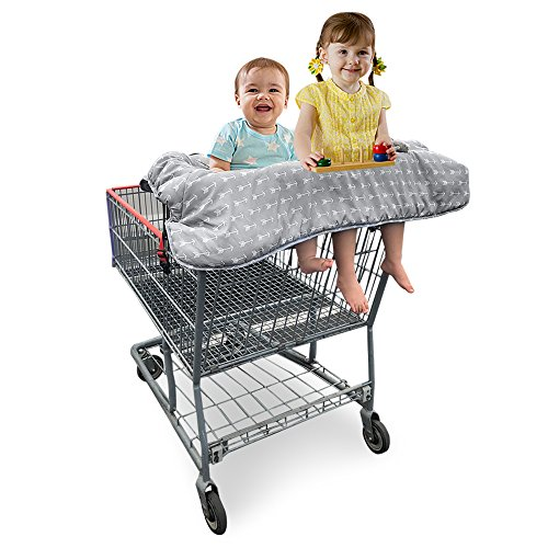 Double Shopping Cart Cover for Twins or Baby Siblings. Guaranteed to Fit Wholesale Warehouse Grocery Stores. Such as Costco and SAMS Club