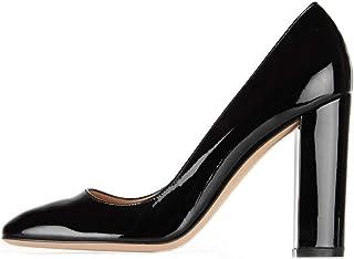 elashe- Scarpe col Tacco - Decolleté Chiuse Donna - Elegante Alto 10cm - Tacco a Blocco