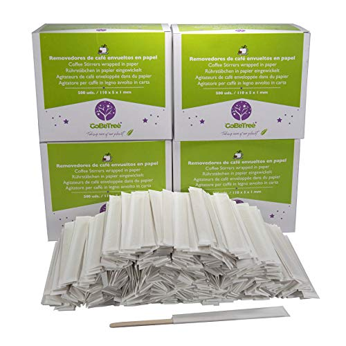 GoBeTree 2000 Cucchiaini da caffè in Legno incartati singolarmente in Carta. Bastoncini da caffè USA e Getta, Bastoncini per mescolare caffè biodegradabili da 11 cm di Lunghezza