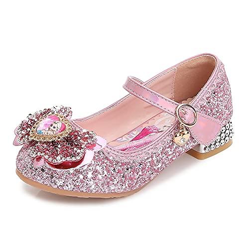 Eleasica Zapato de tacón para niñas Princesa Cenicienta Azul Princesa Aurora Rosa Reina Elsa Plata Zapatilla Adornada Lazo con Foto Accesorio para Disfraz Carnaval Bodas Zapato de Vestir para niña