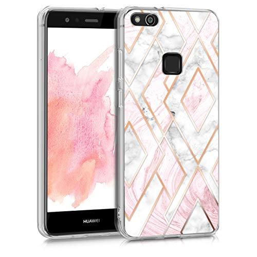 kwmobile Case kompatibel mit Huawei P10 Lite - Hülle Handy - Handyhülle Glory Mix Marmor Rosegold Weiß Altrosa
