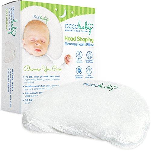 OCCObaby Baby Hoofdkussen met traagschuim, katoenen hoes en bamboe-kussensloop, houdt je baby rond en voorkomt dat je hoofd van je hoofd van je baby in de baby komt