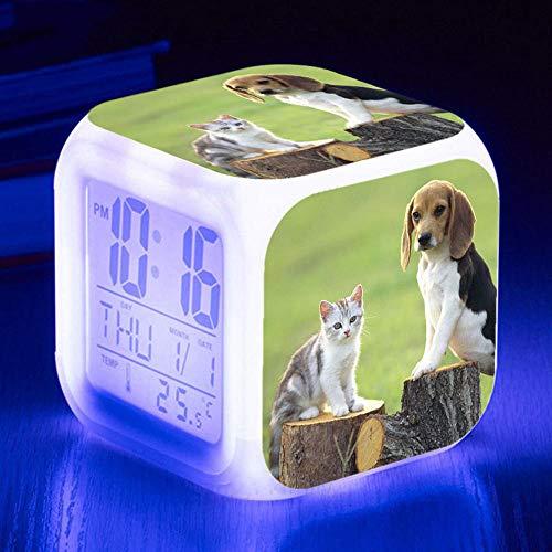 HUA5D Despertador Digital Perro Mascota Infantil Regalos De Cumpleaños Wake Up Light Alarm Clocks Niño & Niña Dormitorio Decorar-Niños 7 Color Cambiante Luz Nocturna Lampara De Cabecer(B230)