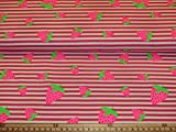 Jersey Stoff - Erdbeere - Baumwolljersey Meterware