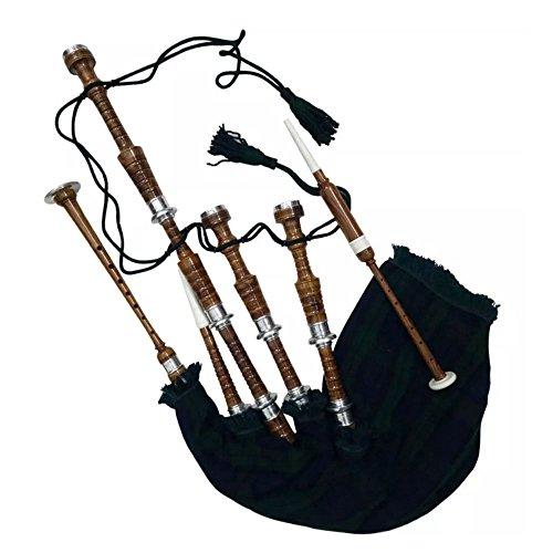 Schotse Bagpipe Rozenhout Natuurlijke Kleur met Zilver Plain Mounts Gratis Tutor Boek, Draagtas, Drone, Rieten Full Size 40 x 20 Zwart Horloge