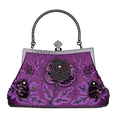 Baglamor Bolso de Vintage Estilo con Cuentas Bolso de Mujer Bolso de Lentejuelas Bolso de Fiesta Boda Embrague