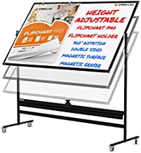 Mobile Whiteboard - Large Adjustable Height 360° Reversible Double Sided Dry Erase Board - Magnetic White Board on Wheels - Portable Rolling Easel with Stand, Flip Chart Holders, Paper Pad|48x36 Black