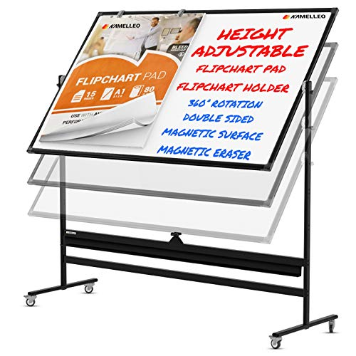 Mobile Whiteboard - 48x36 Large Height Adjust 360° Rolling Double Sided Dry Erase Board, Magnetic White Board on Wheels, Office Classroom Portable Easel with Stand, Flip Chart Holders and Pad | Black