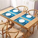 FloraGrantnan - Cojín de comedor para mesas, aislamiento térmico de lino, rayos solares del océano que estallan en el fondo del mar, paisaje acuático, cena, barbacoa, buffet, juego de 8