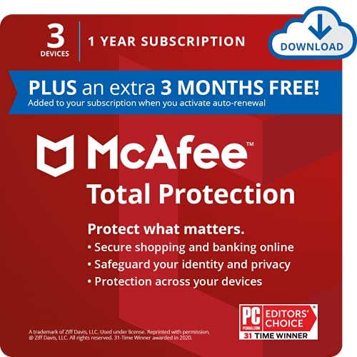 Save 76% | McAfee Total Protection 2021, 3 Device Antivirus Internet Security Software, Password Manager, Privacy, 1 Year Subscription (PLUS an extra 3 MONTHS FREE) - Download Code