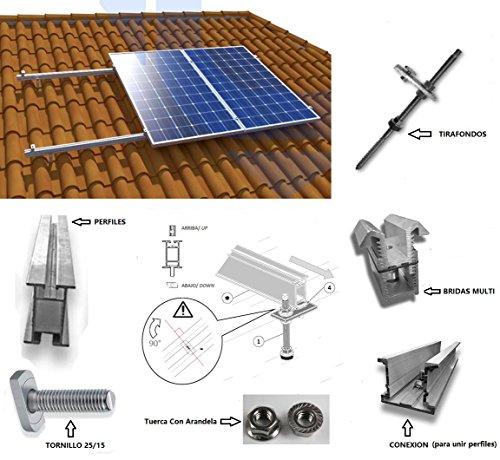 Estructura Panel solar Tejado perforante Soporte para todos tipos de paneles (1 Panel)