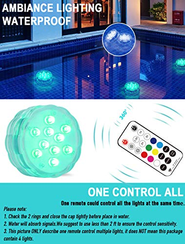 Qoolife Magnetic Dual Waterproof Submersible LED Light with Suction Cup, Remote (RF) - 3.3