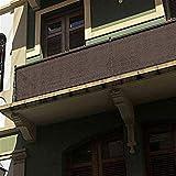 Liveinu Frangivista e Telo Frangivento Protezione per Balconi con Occhiell Copertura per Balcone Terrazzo Giardino Marrone 80x400cm