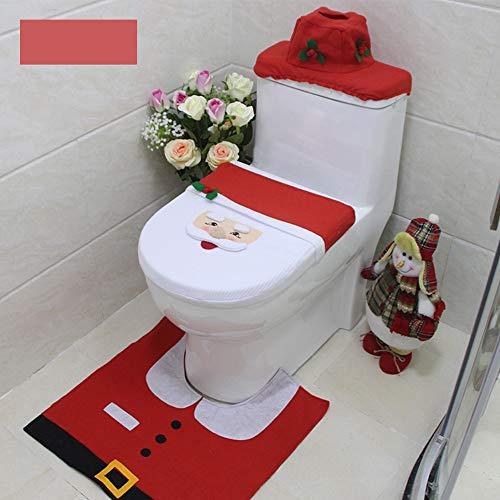 Donpow El Juego de Decoraciones navideñas para baño de 3 Piezas Incluye Tapa de Inodoro, Tapa de Tanque, Alfombra...