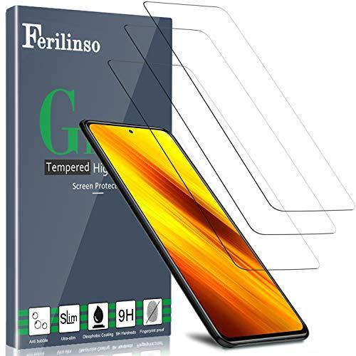 Ferilinso [3 Pezzi] Pellicola Protettiva per Xiaomi Poco X3 NFC/Redmi Note 9S/Note 9 PRO/Mi 10T, Vetro Temperato [Compatibile con la Cover] [Alta Definizione] [9H Durezza] [Anti-Graffio]
