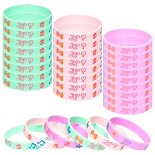 PANTIDE 24Pcs JOJO Silicone Wristbands Rubber Bracelets - JOJO Party Favors Party Supplies for Girls Birthday Baby Shower, JOJO Themed Stretch Bracelets Prizes Rewards Party Bag Fillers