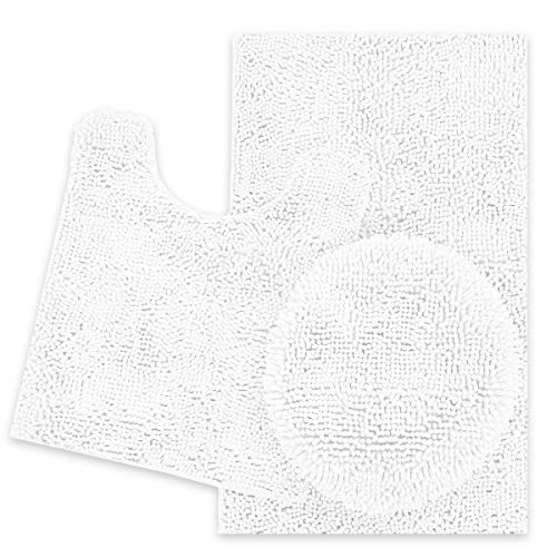 ITSOFT 3pc Non-Slip Shaggy Chenille Bathroom Mat Set, Includes U-Shaped Contour Toilet Mat, Bath Mat and Toilet Lid Cover, Machine Washable, Lilac