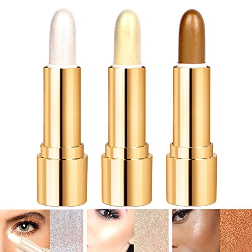 3 Colors Illuminator Highlighter Makeup Sticks Cosmetics Whitening Cream Contour Concealer Sticks Shimmer Foundation Stick Face Cheeks Eye Nose Highlight Concealer Pen,Gold, silver and brown (3 PCS)
