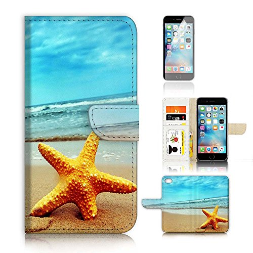 ( For iPhone 8 Plus / 7 Plus ) Flip Wallet Case Cover and Screen Protector Bundle A0021 Starfish Beach Sea Blue Sky