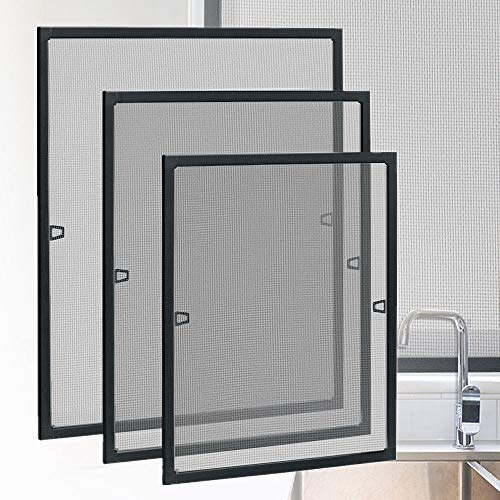 HENGMEI Fliegengitter Fenster Insektenschutz Insektenschutzrahmen Spannrahmen mückengitter gitter mit Aluminium Rahmen ohne Bohren für Fenster (100x120cm, Fenster-Anthrazit)