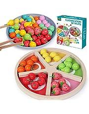 LKOER Symulacja taca do sortowania owoców zabawka do gier, drewniany domek do zabaw, edukacja wczesnego dzieciństwa, poznanie kolorów, oświecenie matematyki, zapakowane