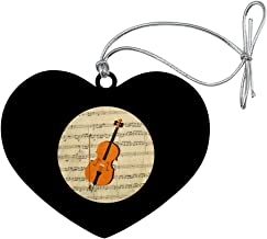 GRAPHICS & MORE Cello Sheet Music Notes Treble Clef Heart Love Wood Christmas Tree Holiday Ornament
