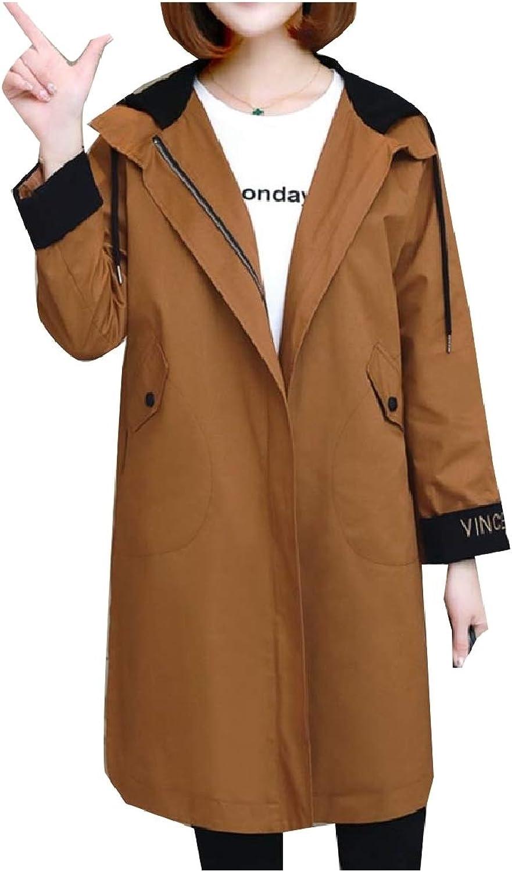 ROHEP Women Plus Size Casual Comfort Hoodie with Zip Trench Coat Jacket