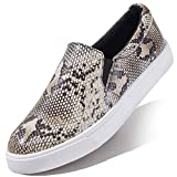 Slip-On Sneakers Thick Metallic Chain Cocktail Party Dress Shoes Casual Slip-on Loafers NAT,Python,p,u,7