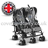 Parapioggia per passeggino Maclaren Twin Techno Made in UK in PVC trasparente super morbido