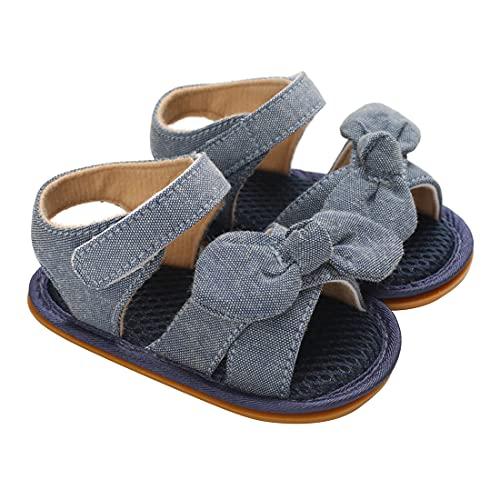 Carolilly Baby Mädchen Sommer Bogen Sandalen weiche Sohle Mode solide Farbe rutschfeste offene Zehe Wohnungen Kleinkind bequem Pre-Walkers (Blau, 6-9 Monate)