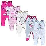 MEA BABY Unisex Baby Strampler mit Aufdruck aus 100% Baumwolle im 5er Pack. Baby Strampler für Mädchen Baby Strampler für Jungen (80, Mädchen 2)