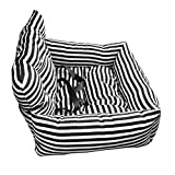 Ryoizen Seggiolino Auto per Cani Letto per Cane Animali Domestici Portellone Portatile Progettato per i Viaggi Lavabile Cuscino per Cucciolo Pieghevole Portatile(Righe/Zebra)