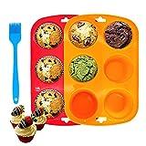Set aus 2 Silikon-Muffinblechen, 6-Tassen-Silikon-Muffinform mit Bürste, Antihaft-Cupcake-Pfanne, Silikon-Backformen, Yorkshire-Pudding-Backform