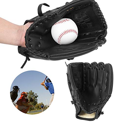 【𝐏𝐫𝐨𝐦𝐨𝐜𝐢ó𝐧 𝐝𝐞 𝐒𝐞𝐦𝐚𝐧𝐚 𝐒𝐚𝐧𝐭𝐚】Guante Negro Engrosado, Guante de béisbol, niño Adolescente Adulto para Juegos de béisbol entrenando Jugadores de béisbol y softbol(Baseball Glove)