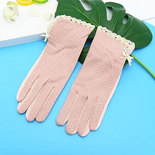 Guantes de Mujer de Moda Guantes de protección Solar de Verano para Mujer Guantes de Pantalla táctil Finos de Retazos de Encaje con Puntos Bonitos Guantes de conducción Transpirables-Pink