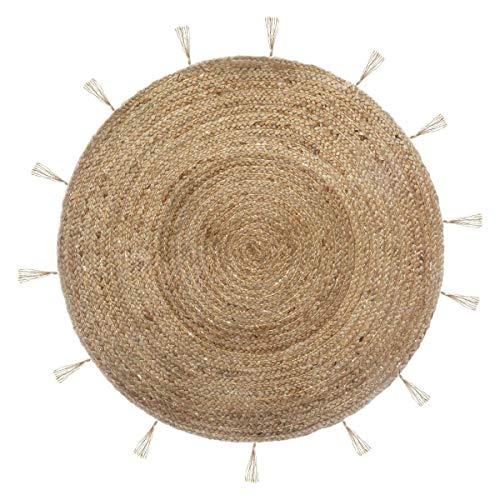 Atmosphera - Tappeto rotondo in iuta, diametro: 80 cm, motivo: Cosy'ness