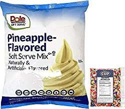 Pineapple soft serve mix and ice cream sprinkles.