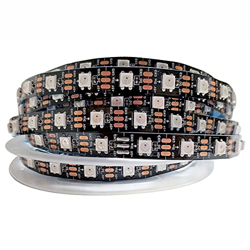 Tesfish WS2812B Tira de luz LED RGB Pixel Tiras LED 5m 5V 5050 300 LEDs IP30 Flexible Negro PCB a todo color Tira de luz LED inteligente para publicidad, decoración, proyectos DIY