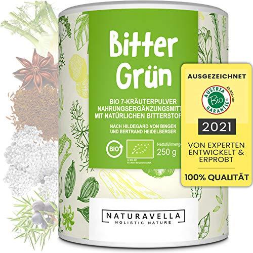 BitterGrün® Premium Bio Bitterstoffe 7 Kräuter-Pulver vom Experten I Nach Hildegard von Bingen und Bertrand Heidelberger I Verdauung & Stoffwechsel I Bitterkräuter vegan, laborgeprüft, 250g
