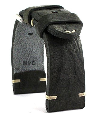 RIOS 1931 24mm Herren Leder Uhrenarmband Vintage grau
