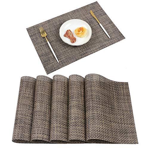 Homcomodar Abwaschbar Tischsets 6er Set PVC Vinyl Platzsets rutschfest Hitzebeständig Platzdeckchen 30x45 cm
