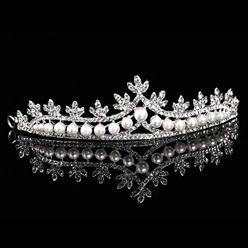 FAPROL Mädchen Haarbänder, Exquisite Perle Tiara, Elegante Prinzessin Krone Haarschmuck, Strass Stirnbänder Zum Geburtstag