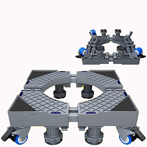 JISHUYI-Q - Caja de ruedas giratorias de goma con doble rueda, base ajustable, multifuncional, móvil, móvil, con bloqueo giratorio, para lavadora, secadora y frigorífico