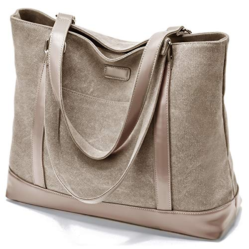 Canvas Laptop Tote Work Bag for Women with 15.6 Inch Computer Compartment Pockets - Khaki